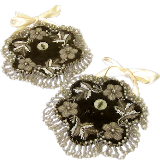 Unusual Pair of Beaded Watch Pockets, 19th Century