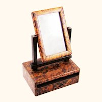 Intriguing Japanese Shell Veneer Toiletry Box with Mirror, 19th Century