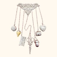American Sterling Silver Needlework Sewing Chatelaine by Shreve, c1900