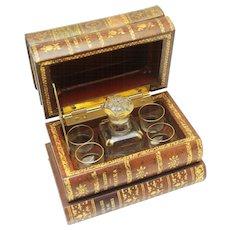 Secret Antique Tantalus Decanter Box in Book-form