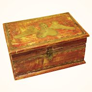 American Folk Art Ditty Box, Brass Heart and Doves design, late 19th century