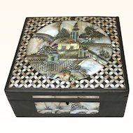 Chinese Qing Dynasty Handkerchief Box with Elaborate Mother-of-Pearl Inlay, 19th Century