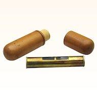 Treen Box with Miniature Brass Spirit Level, Vintage