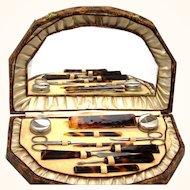 Faux Tortoiseshell and Steel Manicure Set, Vintage
