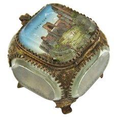 Souvenir Italian Jewelry Box of Eglomisé Glass and Gilt, Late 19th Century
