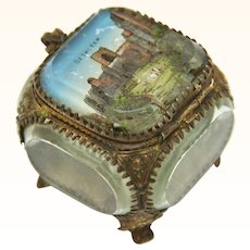 Souvenir Italian Jewelry Box of Eglomisé Glass and Gilt, Late 19th Century