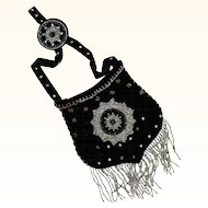 Chatelaine Purse of Black Velvet with Silvered & Black Beads, Hand-Made