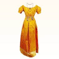 Stunning Gold Silk Regency Ball/Wedding Gown, Jane Austen era