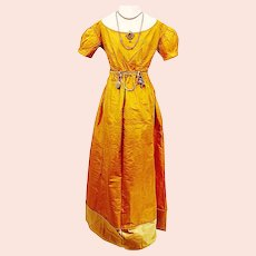 Stunning Gold Silk Regency Ball/Wedding Gown, Jane Austen era