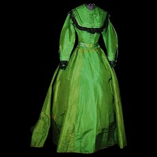Vivid Emerald Green Silk and Black Lace Crinoline Gown, c1870