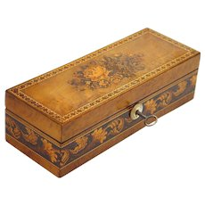 Quality Tunbridge Glove Box of Burr Walnut with Tessellated Mosaic