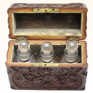 Black Forest Scent Caddy with Three Perfume Bottles, c1890
