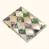 Mother of Pearl and Abalone Card Case, early 20th Century