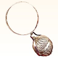Silver Filigree Bracelet & Ball Wool or Silk Holder, dated 1855