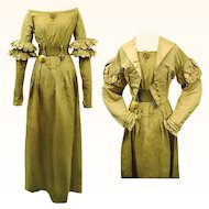 Regency Sage Green Silk Dress and Compatible Spencer, early 1820s, Jane Austen era