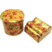 Matching Celluloid Collar and Handkerchief Boxes, Poppy Design, early 20th Century