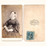 Civil War-Era Carte de Visite of Lady with Hair Vest Chain, Tax Stamp