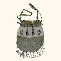 Dainty Micro-beaded Drawstring Purse, Victorian