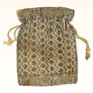 Attractive Taupe Drawstring Purse with Glittering Beads, Victorian