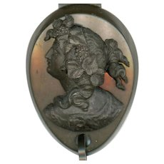 Rare Vulcanite Cameo Chatelaine Plaque with Chain & Swivel, Victorian
