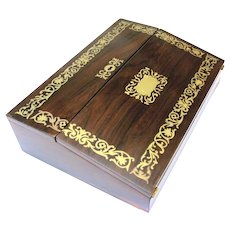 Stylish Rosewood and Foliate Brass Writing Slope, Late Regency - Early Victorian