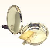 Sheffield Silverplate Silent Butler with Crumb Brush, c1940s