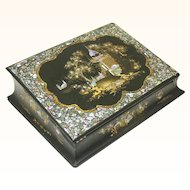 Quality Chinoiserie Papier Mache & Mother of Pearl Writing Slope, c1860
