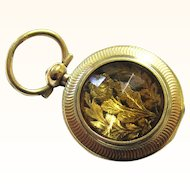 Exquisite Tiny 14ct Gold and Citrine Watch-form Vinaigrette, Early 19th Century