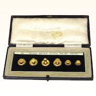 Complete Set of Six 9ct Gold Collar Studs in Original Box, Maker OP patented, Late 19th Century