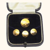 Complete Set of Four 9ct Gold Studs in Original Box, Late Victorian-Early Edwardian