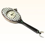 Stunning Enamel Racquet-form Pendant Watch, Art Deco