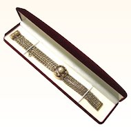 Ladies Péry Cocktail Secret Wristwatch in 14 Carat Gold and Pearl, c1940