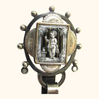 Enamel Cherub Chatelaine in Silverplate with Pendant Shell-form Pin Cushion