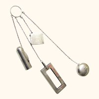 Classic Finger Ring Chatelaine in Sterling Silver, early 20th Century, American