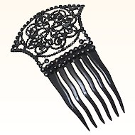 Mantilla Hair Comb, French Jet & Celluloid, late 19th Century