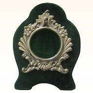 Pocket Watch Holder in Picture-frame Form, Silverplate & Green Velvet, Victorian