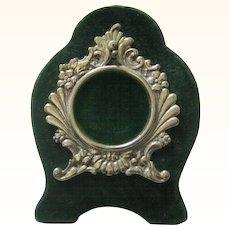 Pocket Watch Holder in Picture-frame Form, Silverplate & Green Velvet, Victorian