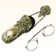 Silverplate Complete Spectacle Chatelaine with Pince Nez Spectacles