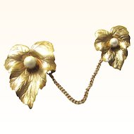 Vintage Sarah Coventry Gold Tone Double Brooch Chatelaine Pin