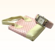 Delightful Hinged Vimora Bangle Watch in Pink Leatherette with Matching Tiny Purse