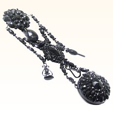 Stylish French Jet Watch Chatelaine for Mourning, Victorian, c1892