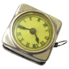 Retractable Tape Measure in the Form of a Watch, Silvered Metal, Vintage