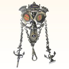 Rare Symbolic Watch Chatelaine Mourning the Loss of Alsace and Lorraine, c1871