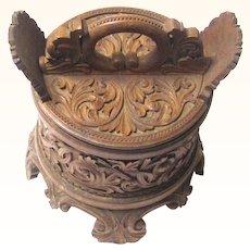 Norwegian Porringer with Exquisite Acanthus Carving, 19th Century