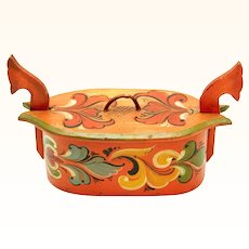 Colourful Rosemaled Scandinavian Tine/Tina Box, late 19th century