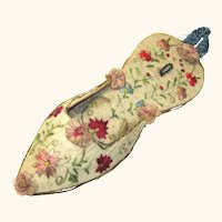 Precious Regency Embroidered Watch Pocket in Slipper-form