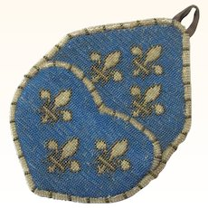Elegant Beaded Watch Pocket with Fleur-de-lis on a Turquoise Background, Victorian