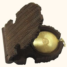 Special Carved Treen Pocketwatch Holder with 14ct Watch-form Daguerreotype Locket, featuring Husband & Wife