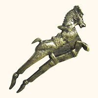 Indian Brass Betel Nut Cutter in the Form of a Leaping Horse