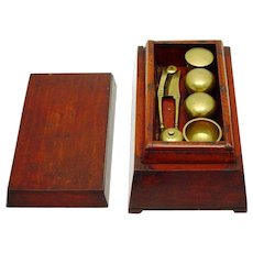 Shaped Timber Betel Box, with Two Compartments, with Complete Brass Boxes & Implements, 19th Century